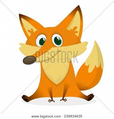 Cartoon Happy And Sad Fox. Vector Clip Art Illustration With Simple Gradients.