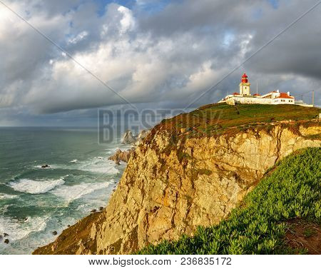 Wide Angle View Of Cabo Da Roca Over The Cliffs And Atlantic Ocean, Portugal. The Most Westerly Poin