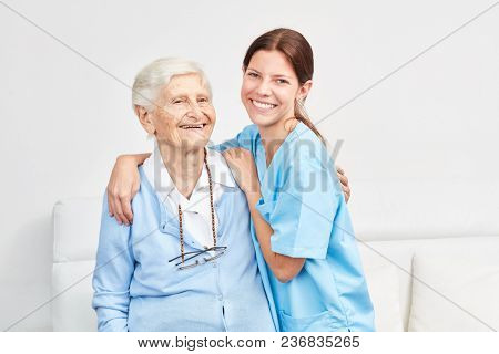 Nursing service wife and happy elderly woman in retirement home or home visit