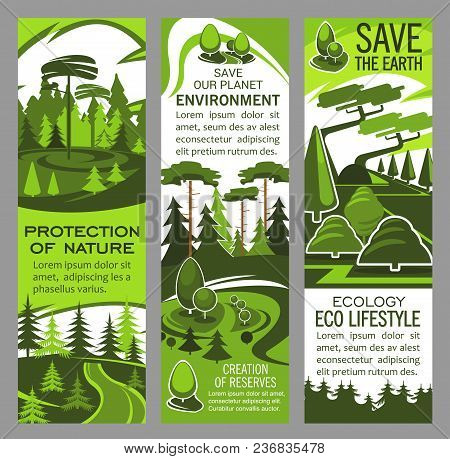 Environment And Ecology Protection Banner With Eco Green Nature Landscape. Forest Tree Plant With Gr
