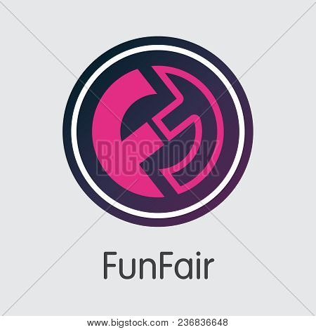 Funfair Vector Pictogram For Internet Money. Cryptocurrency Coin Symbol Of Fun And Trading Sign For