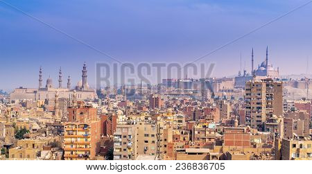 Cairo, Egypt - November 18, 2017: Aerial Cityscape View Of Old Cairo, Egypt With Old Buildings, Cair