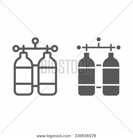 Oxygen Tank Line And Glyph Icon, Diving And Underwater, Dive Tank Sign Vector Graphics, A Linear Pat