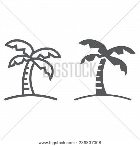 Palm Tree Line And Glyph Icon, Travel And Tourism, Island Sign Vector Graphics, A Linear Pattern On