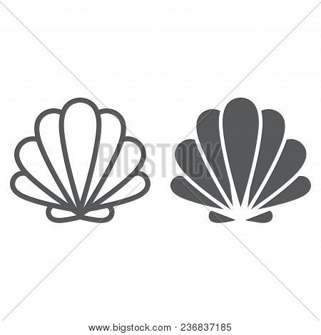 Seashell Line And Glyph Icon, Animal And Underwater, Shell Sign Vector Graphics, A Linear Pattern On