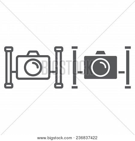 Underwater Camera Line And Glyph Icon, Diving And Underwater, Snorkeling Sign Vector Graphics, A Lin