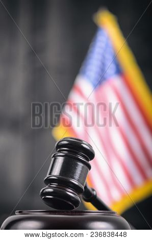 Law And Justice, Legality Concept, Judge Gavel And United States Of America Flag On A Black Wooden B