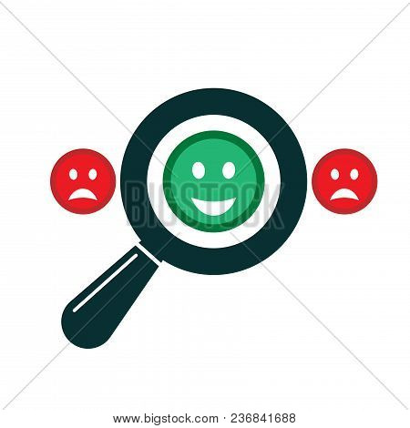 Magnifying Glass With Positive And Negative Emoticon. Search Positive Smiley Among Negative Emoticon