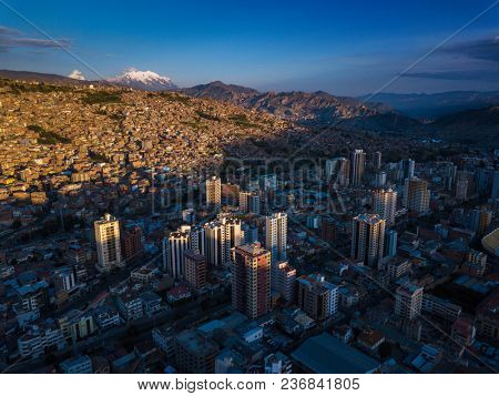 Aerial shot of the city of La Paz during sunset, Bolivia