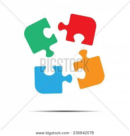 Multicolored Puzzles Icon Isolated On White Background