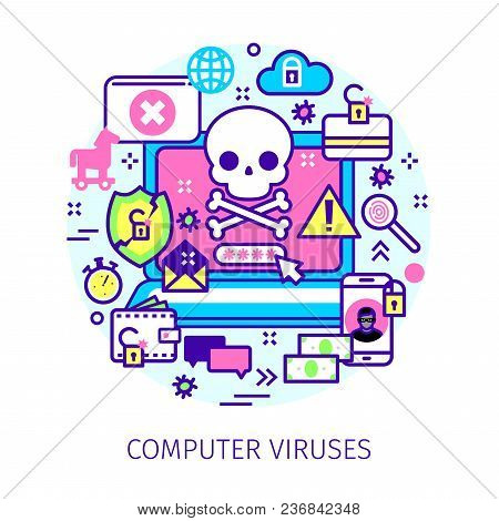 Concept Of Virus, Piracy, Hacking And Security. Laptop With Malicious Content And Skull On The Scree