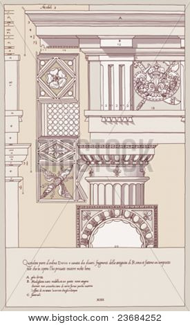 Hand draw sketch doric architectural order based