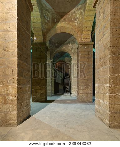 Cairo, Egypt - March 25 2018: Passages Of Ancient Water Cistern With Huge Arches, Lies Under The Sel