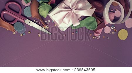 Banner Decorative Composition A Set Of Materials For The Design Of The Holiday. Flat Lay Top View