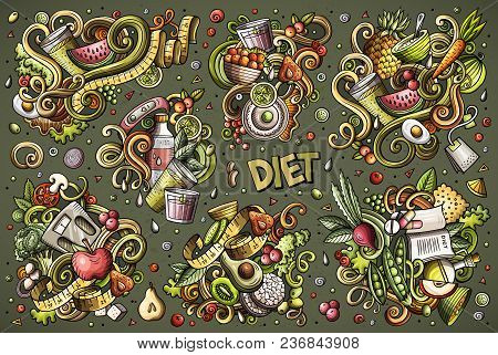 Colorful Vector Hand Drawn Doodles Cartoon Set Of Diet Food Combinations Of Objects And Elements. Al