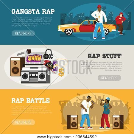 Rap music 3 flat horizontal banners webpage design with freestyle singers battle and retro accessories vector illustration poster
