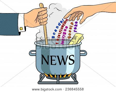 News Production Metaphor Pop Art Retro Vector Illustration. Color Background. Isolated Image On Whit