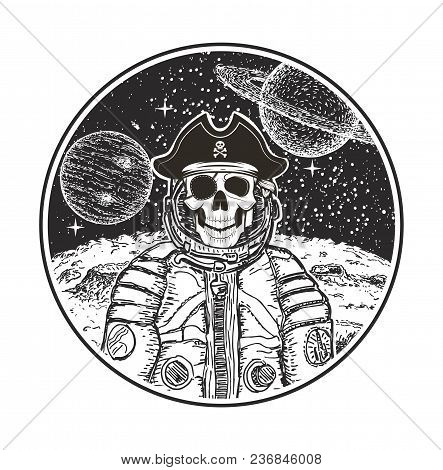 Astronaut Space Pirate Vector Hand Drawn Illustration. Human Skull In Spacesuit, Pirate Captain Hat