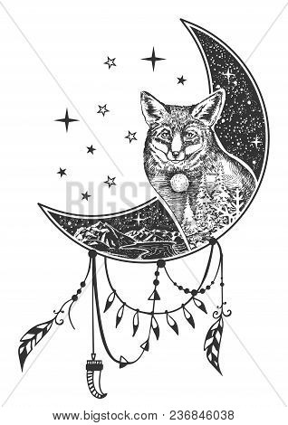 Vector Boho Fox Tattoo Or T-shirt Print Design. Fox Head On Crescent Moon Combined With Nature And B