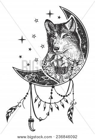 Vector Boho Wolf Tattoo Or T-shirt Print Design. Wolf Head On Crescent Moon Combined With Nature And