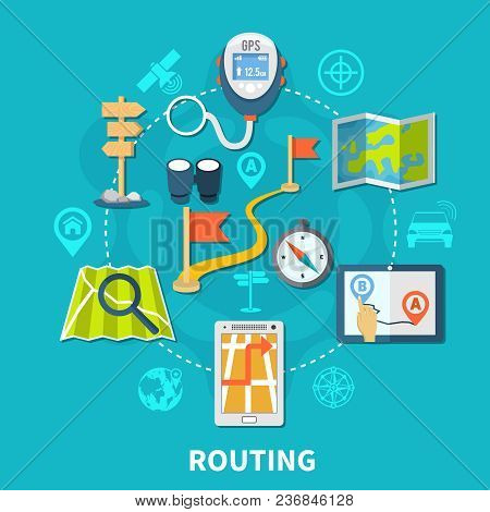 Navigation Circle Composition Of Isolated Routing Images Of Geolocation Equipment And Flat Silhouett