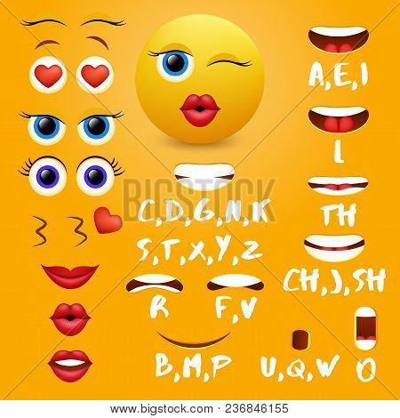 Female Emoji Mouth Animation Vector Design Elements. Lip Sync Mouth Shapes For Animation And Eyes, E