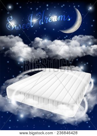 Sweet Dreams Concept Vector Realistic Illustration. White Mattress On Moonlit Sky Background. Comfy