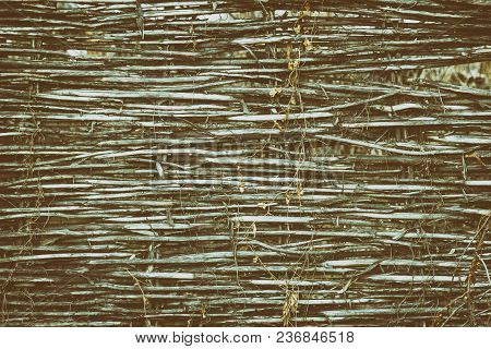 Rustic Texture Of Wattle Fence. Rural Nostalgy Vintage Background