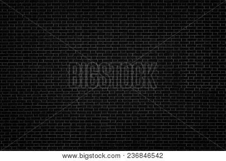 Black Brick Wall Texture. Dark Brickwork Background