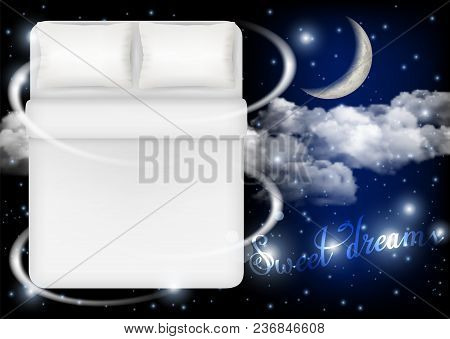 Sweet Dreams Concept Vector Realistic Illustration. White Bed With Two White Pillows, Blanket And Li