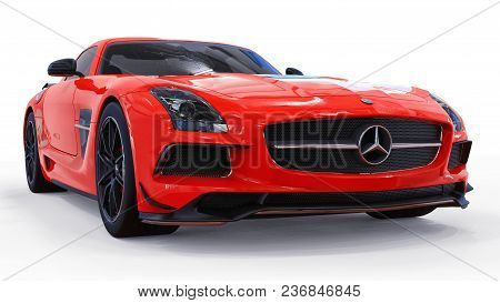 Mercedes-benz Sls Red. Three-dimensional Raster Illustration. Isolated Car On White Background. 3d R