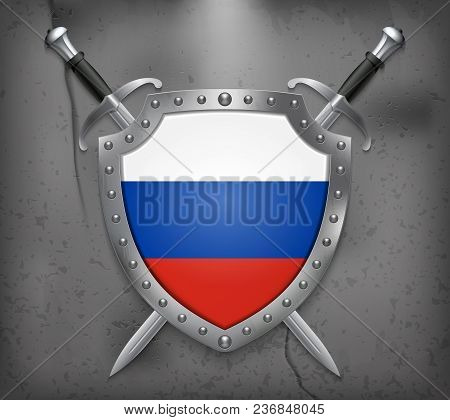 Flag Of Russia. The Shield With National Flag. Two Crossed Swords. Medieval Background