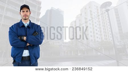 Security man in cityscape