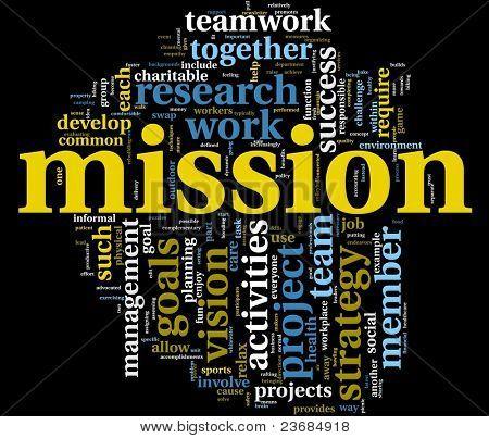 Mission et le concept de gestion d'entreprise dans le nuage de Tags mot isolé sur fond noir