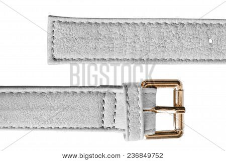 Unfastened White Leather Belt Isolated Over White