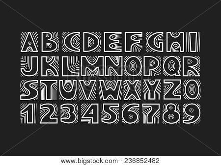 Vector Handwritten Uppercase Artistic Alphabet With Concentric Lines. Theme Of Tree Structure, Annua