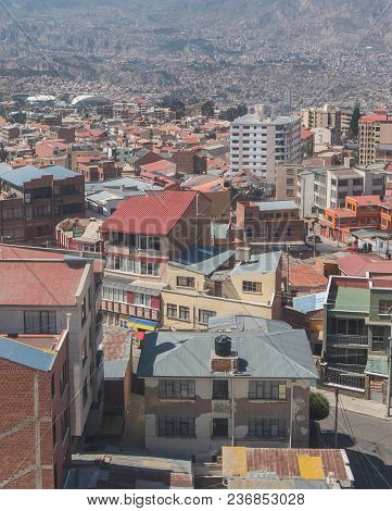 The City Of La Paz High In The Andes Mountains In Bolivia - Viewed From Mirador Kilikili. La Paz, Bo
