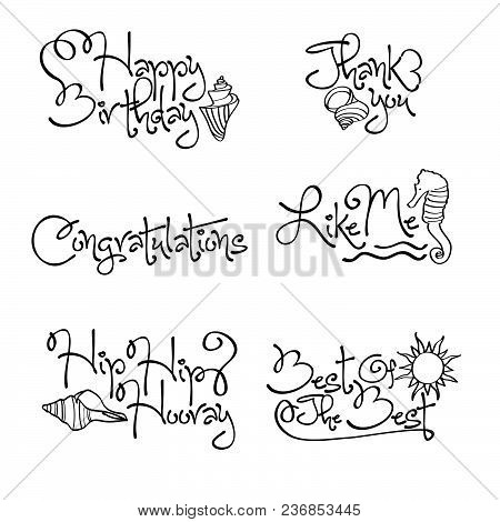 Happy Birthday Quotes Collection With Marine Theme. Ideal For Banners And Invitations And Marine The