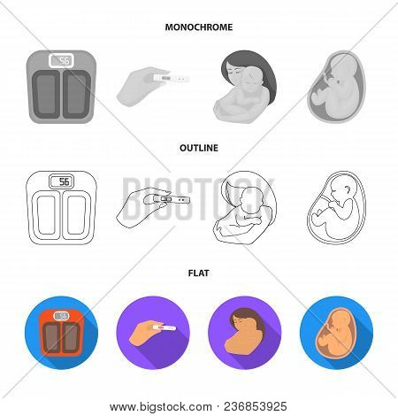 Uterus, Apparatus Of Ultrasound, Fertilization. Pregnancy Set Collection Icons In Flat, Outline, Mon