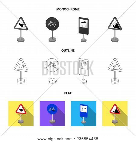 Different Types Of Road Signs Flat, Outline, Monochrome Icons In Set Collection For Design. Warning