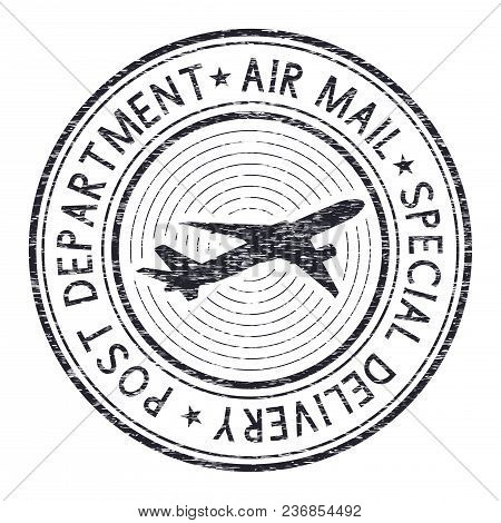 Air Mail Postmark. Black Stamp For Envelopes With Airplane. Vector Illustration Isolated On White Ba