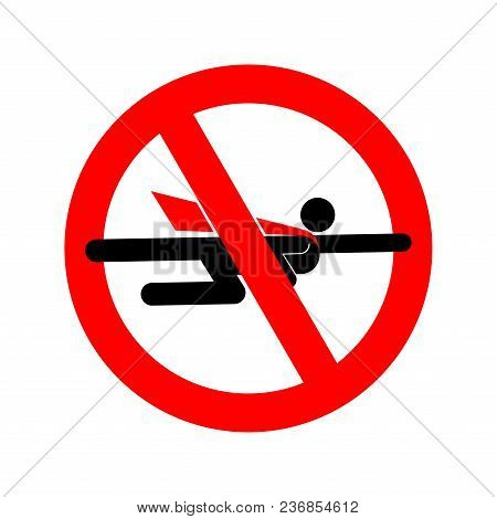 Stop Super Hero. Forbidden Superhero. Road Sign Prohibiting Road Symbol. Ban Of Superpower