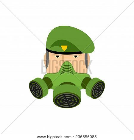 Soldier In Respirator. Military And Gas Mask Green. Vector Illustration