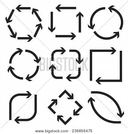 Arrows In Circular Motion. Round, Square, Oval Combinations. Vector Illustration Isolated On White B
