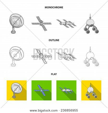 Radio Radar, Docking In Space Spacecraft, Lunokhod. Space Technology Set Collection Icons In Flat, O