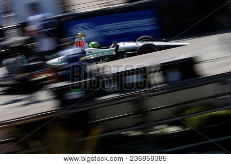 April 13, 2018 - Long Beach, California, USA: Zachary Claman De Melo (19) takes to the track to practice for the Toyota Grand Prix of Long Beach at Streets of Long Beach in Long Beach, California.