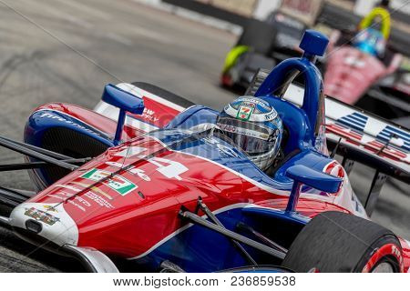 April 15, 2018 - Long Beach, California, USA: Tony Kanaan (14) brings his race car through the turns during the Toyota Grand Prix of Long Beach race at Streets of Long Beach in Long Beach, California.