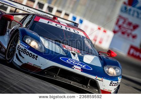 April 13, 2018 - Long Beach, California, USA:  The Chip Ganassi Racing Ford GT races through the turns at the Bubba Burger Sports Car Grand Prix in Long Beach, California.