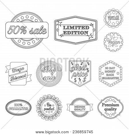 Different Label Outline Icons In Set Collection For Design. Index And Brand Vector Symbol Stock  Ill