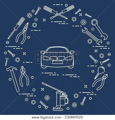 Repair Cars: Automobile, Wrenches, Screws, Key, Pliers, Jack, Hammer, Screwdriver. Design For Announ